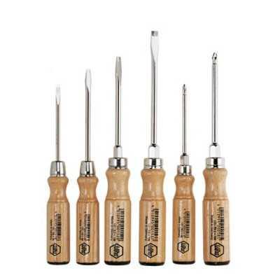 Zestaw wkrętaków z drewnianą rączką 6cz. 162ZK6SO Drewno Wiha 07150