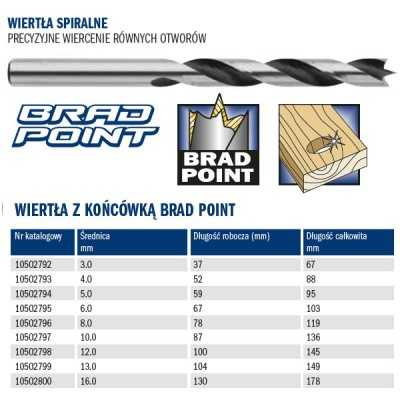 Wiertło spiralne do drewna Brad Point 3.0x37/67mm Irwin 10502792